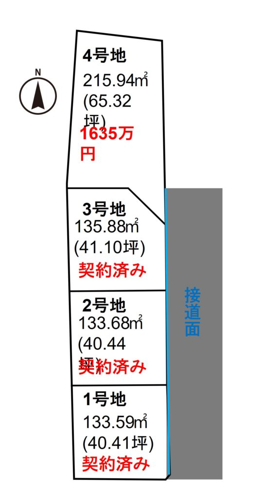 大岡小笠4区画売り土地